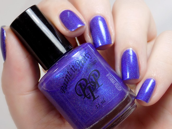 Paint it Pretty Purple Thunder Holo Polish - Swatch in Artificial Light 3