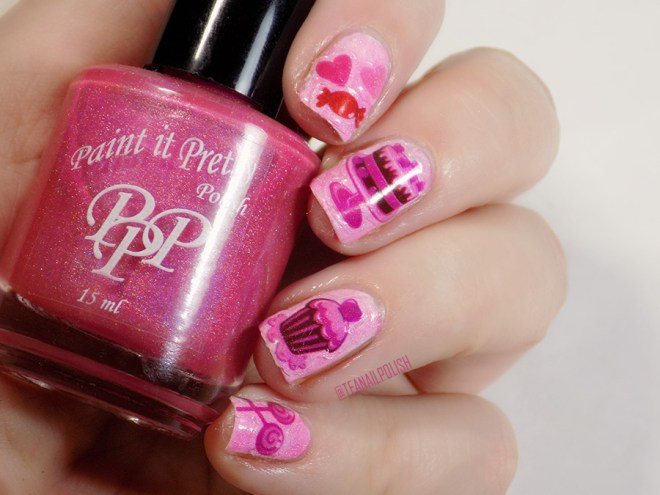 Sassy+Chic Nail Art Stickers over Paint it Pretty Tickle Me Pink