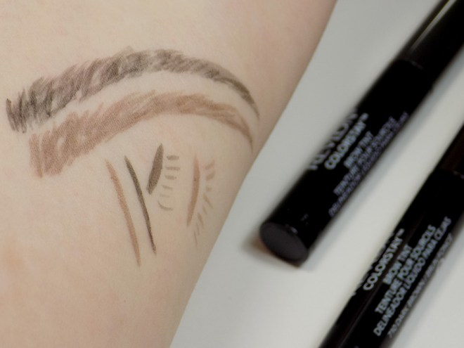 Revlon Colorstay Brow Tint in Soft Black and Dark Brown Swatches