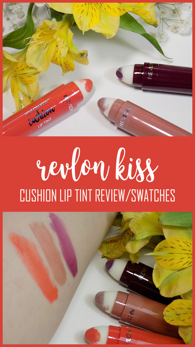 Revlon Kiss Cushion Lip Tint 3 - Swatches of High End Coral - Pretty Kiss - Extra Violet Swatches