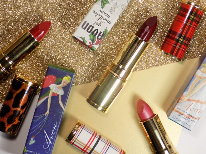 Avon Canada Iconic Lipstick Swatches - Holiday Collection 2018 Swatches of Sugar Plum, Holly Red & Merry Mauve