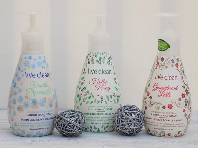 Live Clean Holiday Hand Soaps Reviews - vanilla peppermint, holly berry and gingerbread latte
