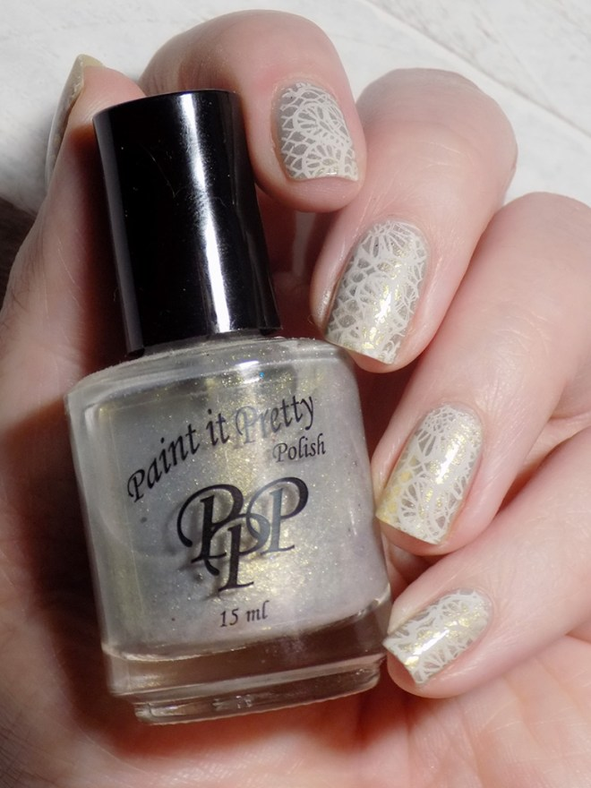 Champagne and Lace Bridal Names CBBxManiMonday Swatch 3