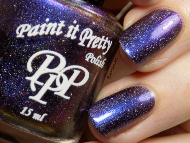 Paint it Pretty Polish - Fireflies Stuck Up In That Blueish Black Thing - Swatch Closeup