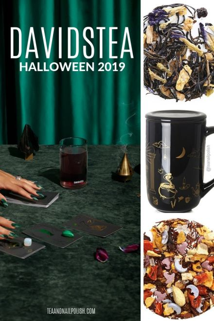 A sneak peek of the DAVIDsTEA Halloween collection including new teas Deep Purple, Forbidden Root, Eye of Newt, Reimagined Monster Mash & Halloween mug!