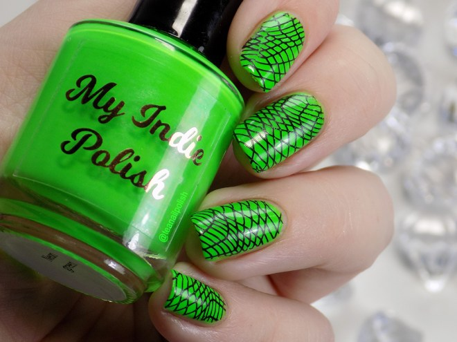 My Indie Polish Neon Green Swatches stamped with Rat Rod Paint Job