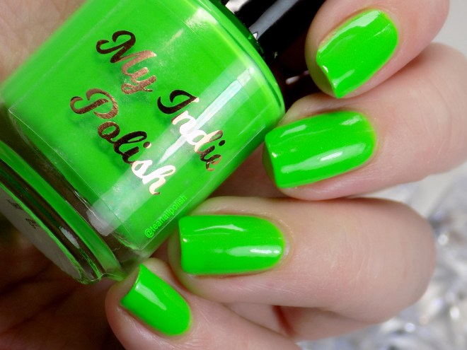 My Indie Polish Neon Green Swatches. 2jpg