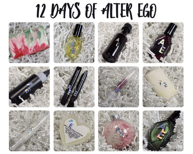 The 12 Days of Alter Ego products unwrapped and shown individually