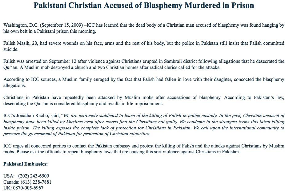pakistani christian murdered in prison