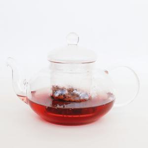 glass tea pot filled