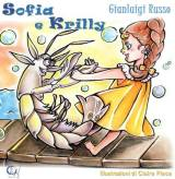 Sofia e Krilly, cover and black and white illustration, for a coloring book.