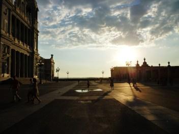 Evening sun outside Almudena Cathedral
