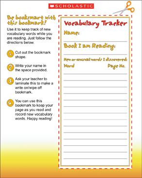 Vocabulary Tracker Bookmark