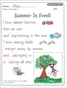 Summer Is Swell Consonant Blends
