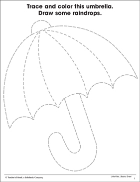 Umbrella Fine Motor Skills Practice Page Printable