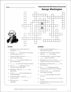 George Washington Text Amp Crossword Puzzle