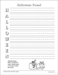 acrostic halloween poems worksheets