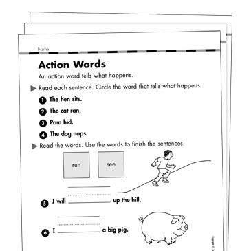 Action Verbs Grade 1 Collection