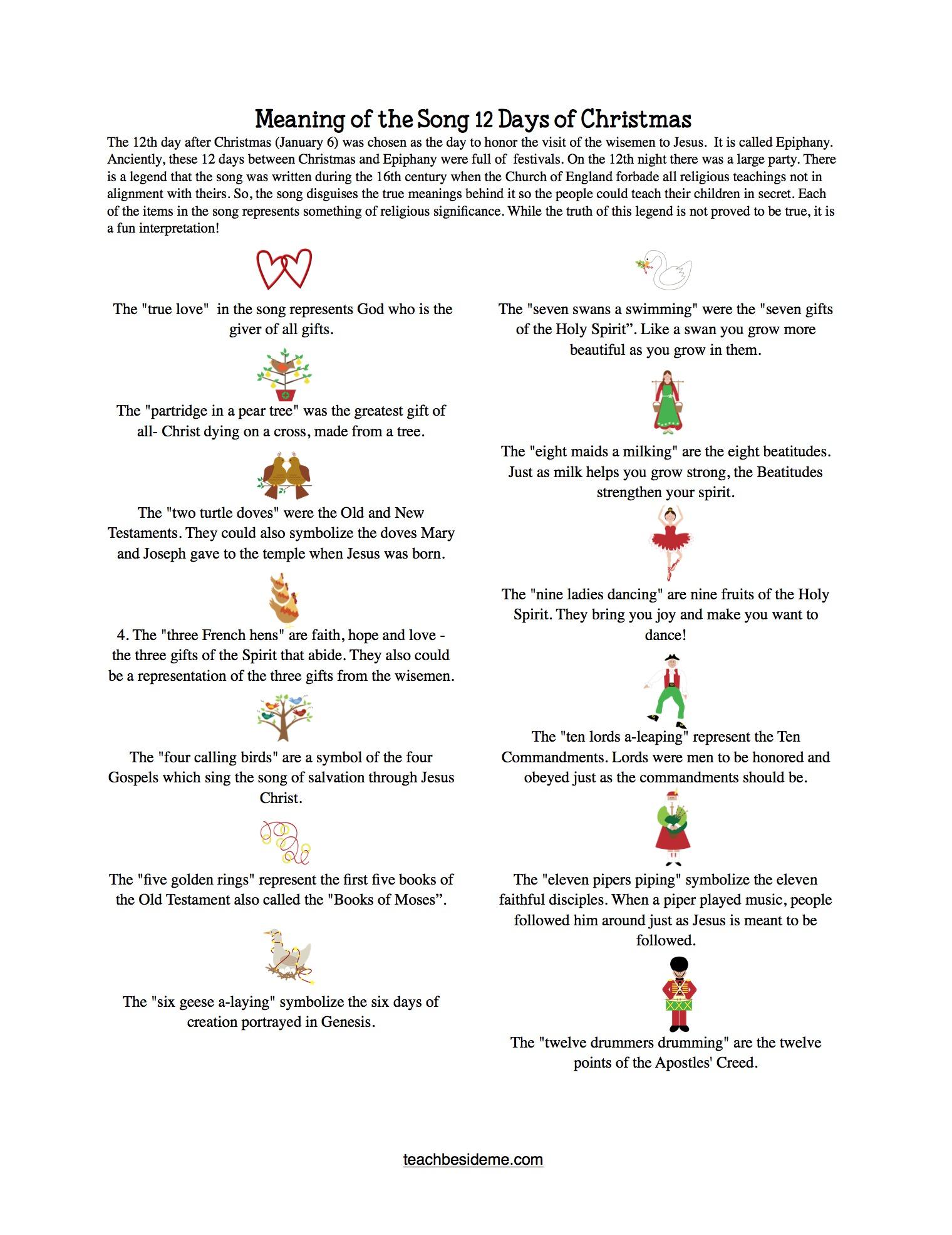 12 Days Of Christmas Printable Game