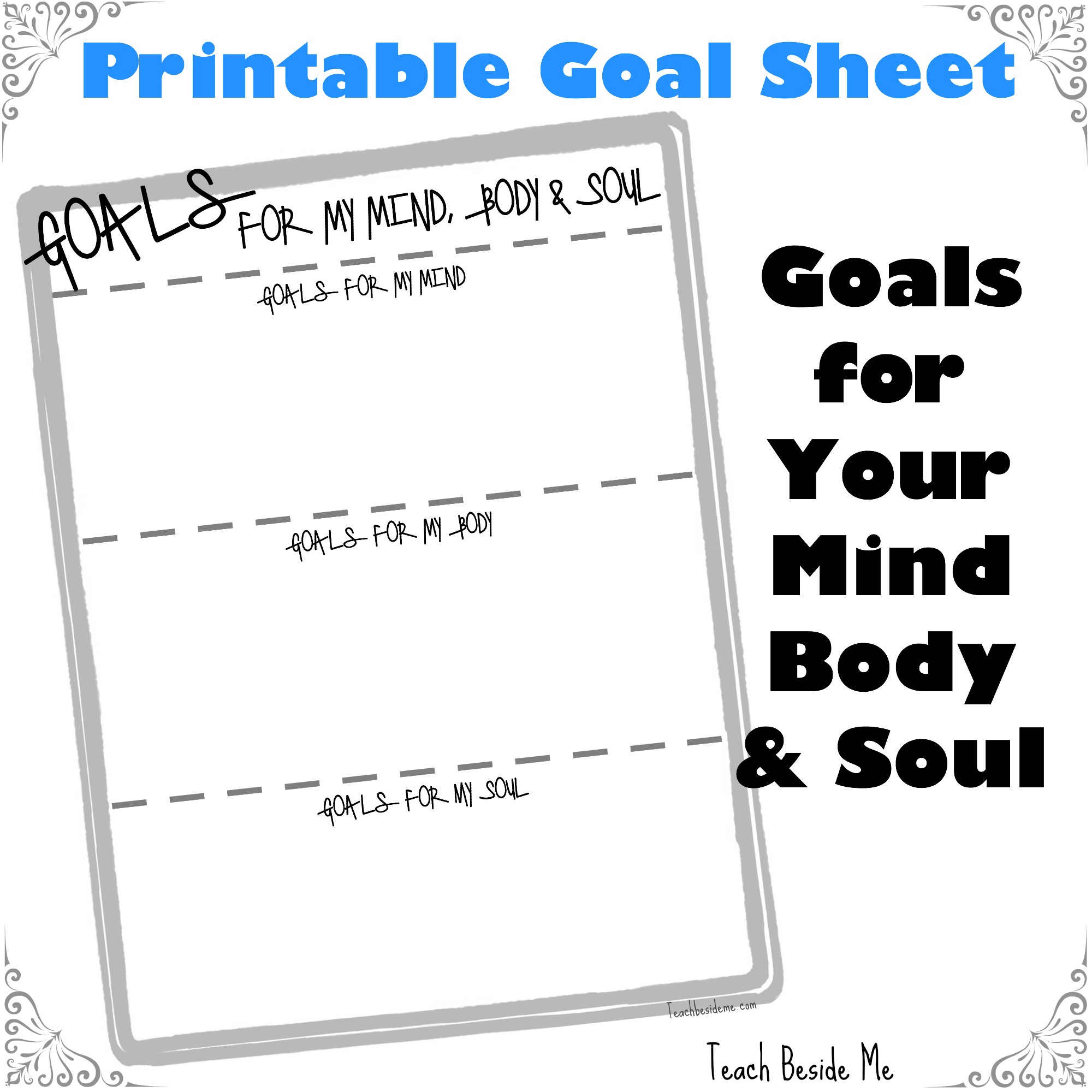 Printable Goals For My Mind Body Amp Soul