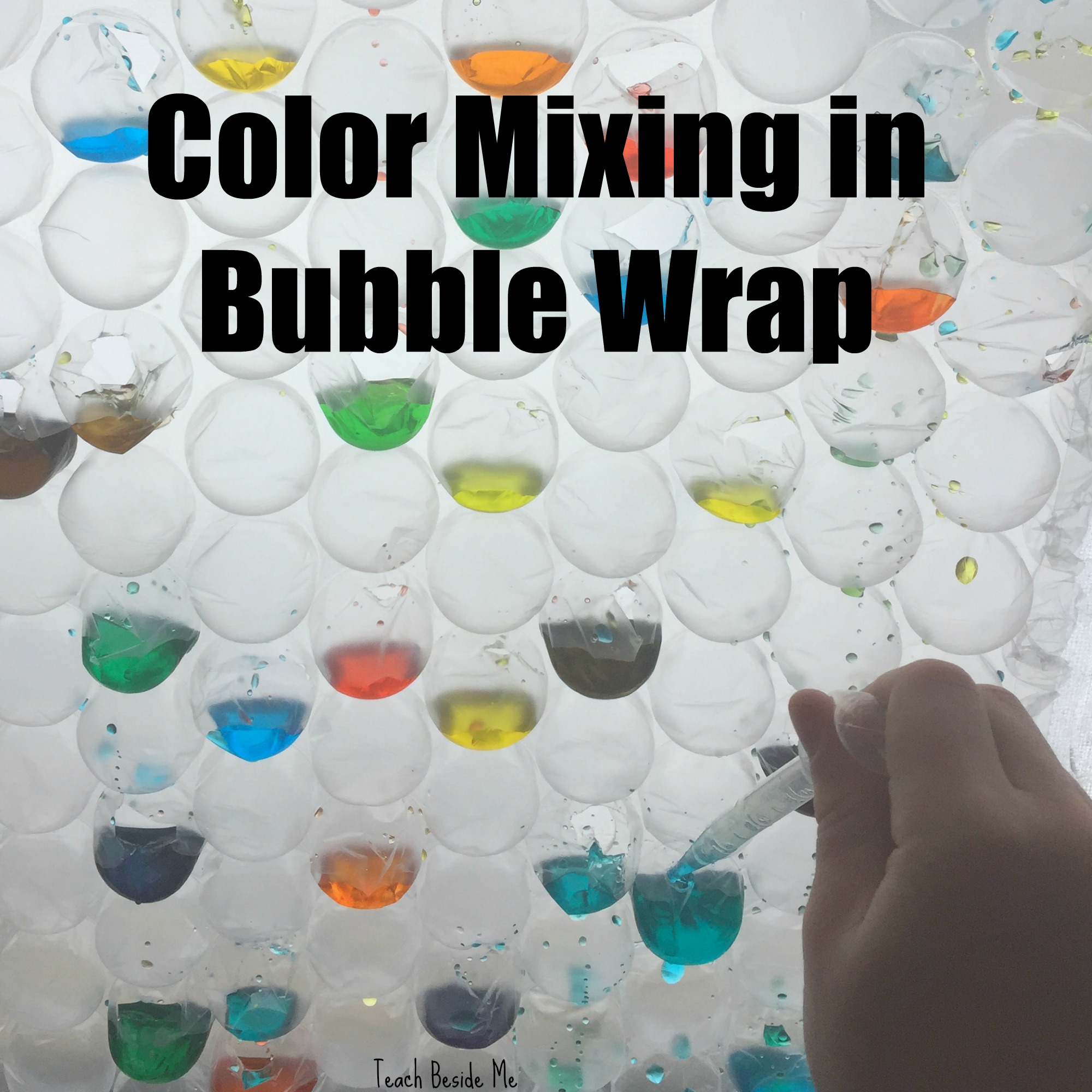 Rainbow Color Mixing In Bubble Wrap