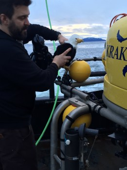 Mike shows Qanuk around the ROV