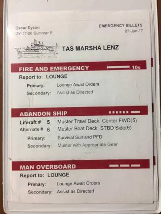 Each room has passenger and emergency information posted.