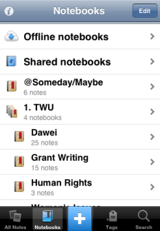 a list of my Stacks and Notebooks on the mobile version of Evernote