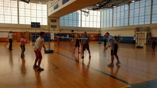 The amazing PE staff demonstrated their teaching methods with the basics of badminton!