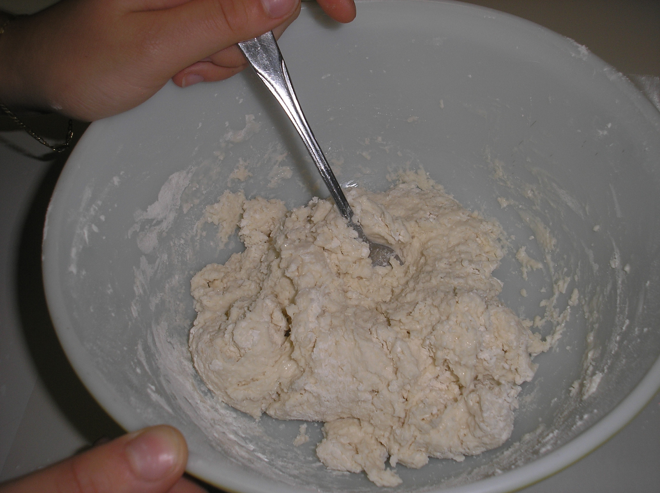 Add milk and stir with a fork