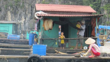children playing in the village