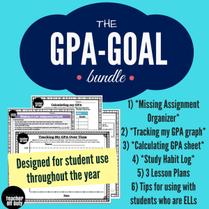 A pack of 4 lesson plans and handouts for helping students create goals, track their GPA, and keep organized with missing assignments.