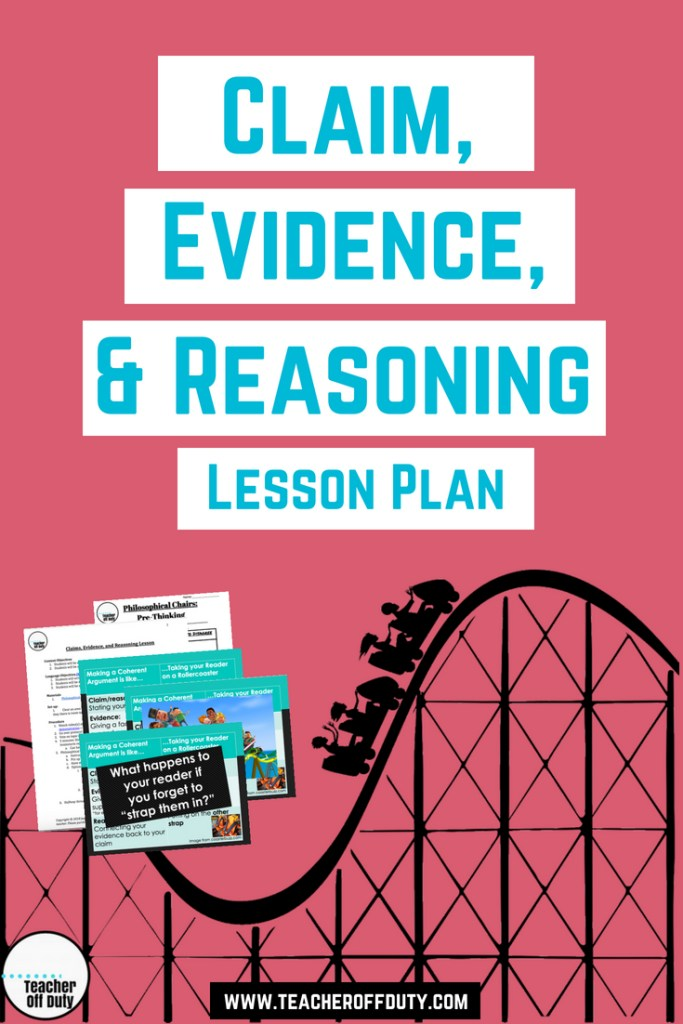 "My favorite way to introduce Claim, Evidence, and Reasoning--using the analogy of, ""How making an argument is like taking your reader on a rollercoaster."" Making your claim is like sitting them down, introducing evidence is like putting one strap of the seat belt on, and reasoning is the other. If you forget one, guess what happens to your reader? #writing #persuasivewriting"