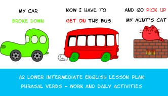 A2 Lower Intermediate English Lesson Plan – Phrasal Verbs – Work and Daily Activities