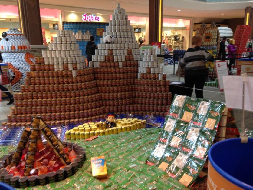 Canned food drive display, Kansas City Mall