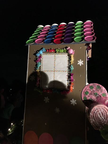 Christmas Float Candy Lights And Gingerbread House For