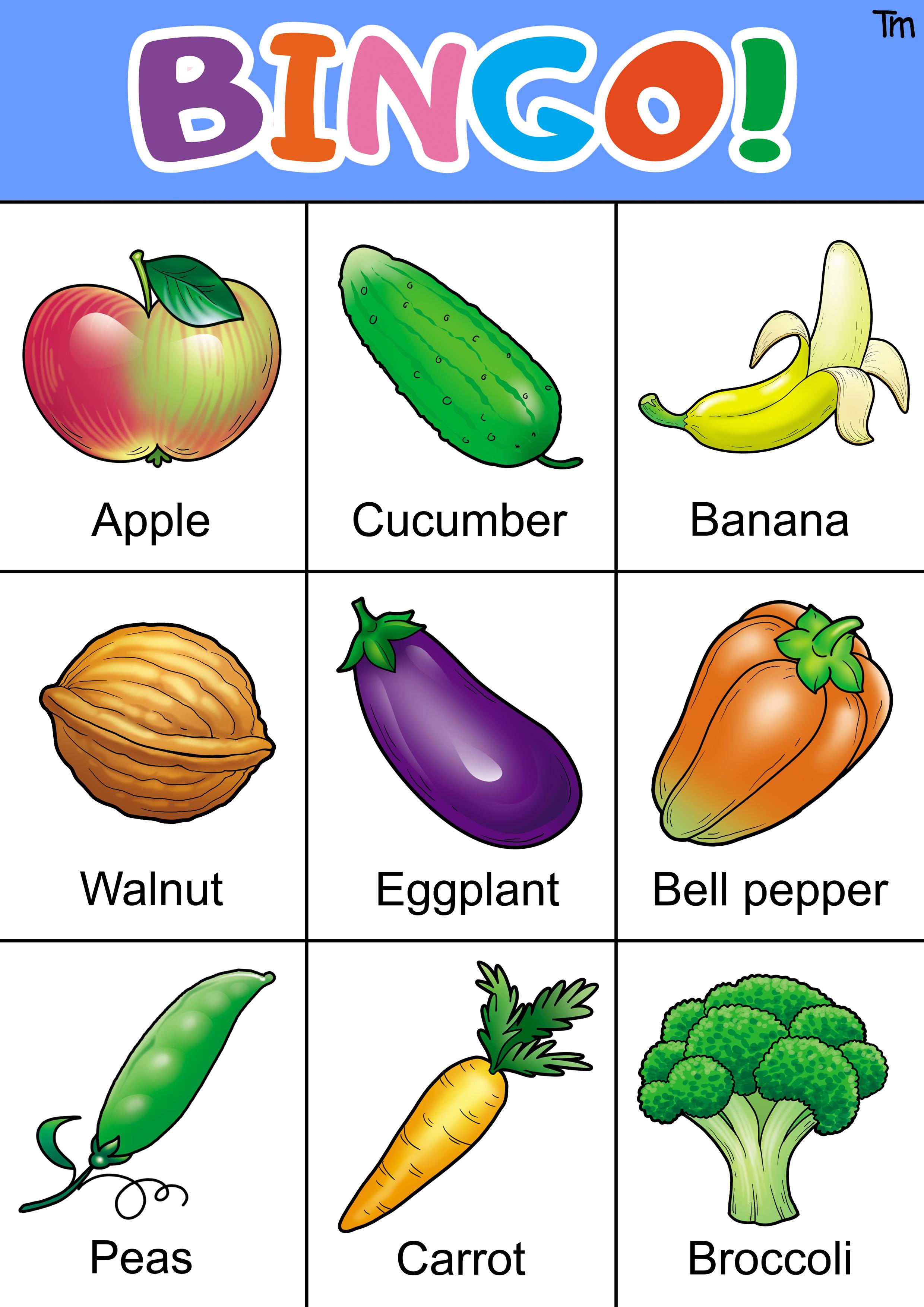 Fruit And Veggie Bingo Game With Free Bingo Cards