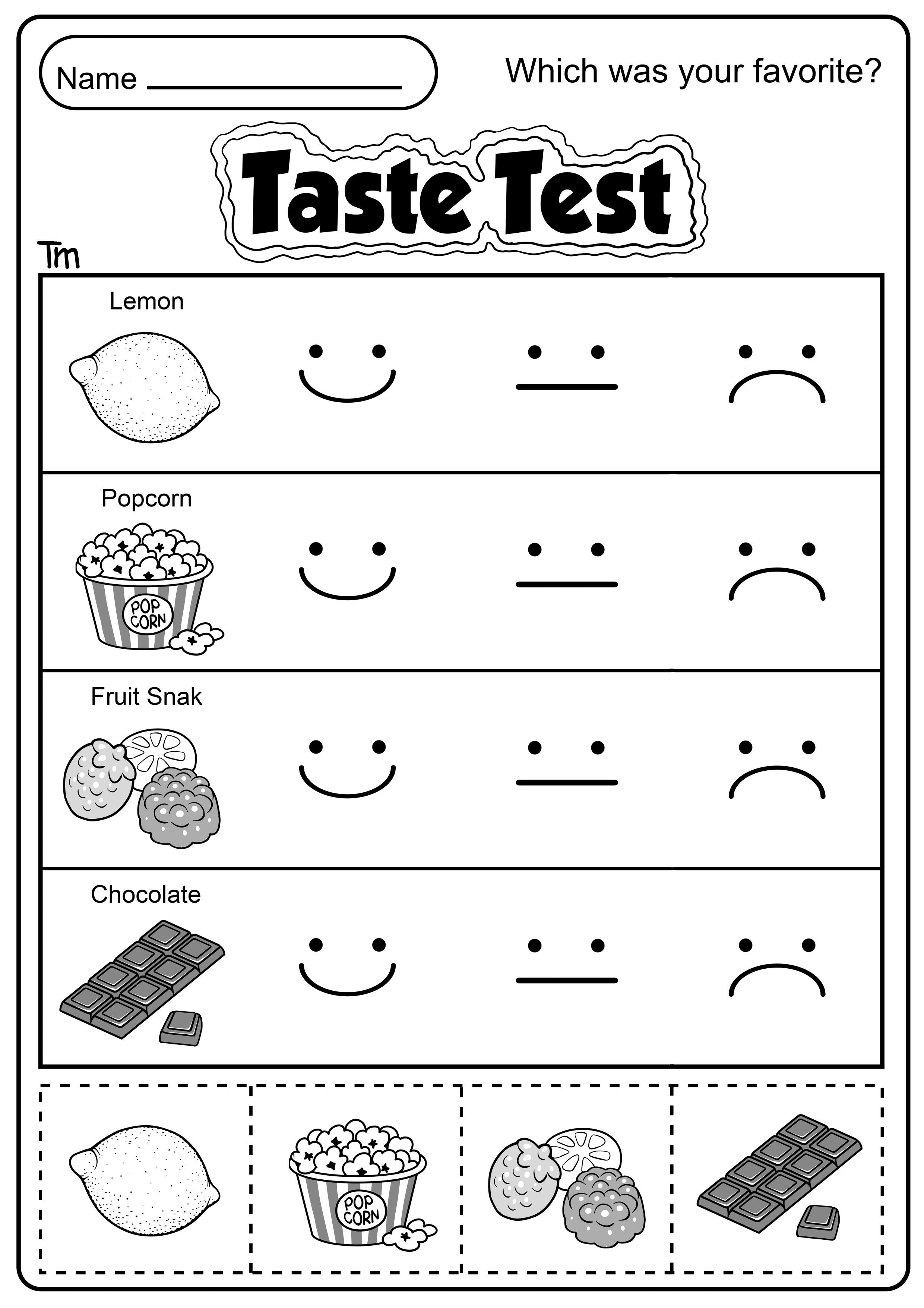 Sense Of Taste Worksheet For Kids