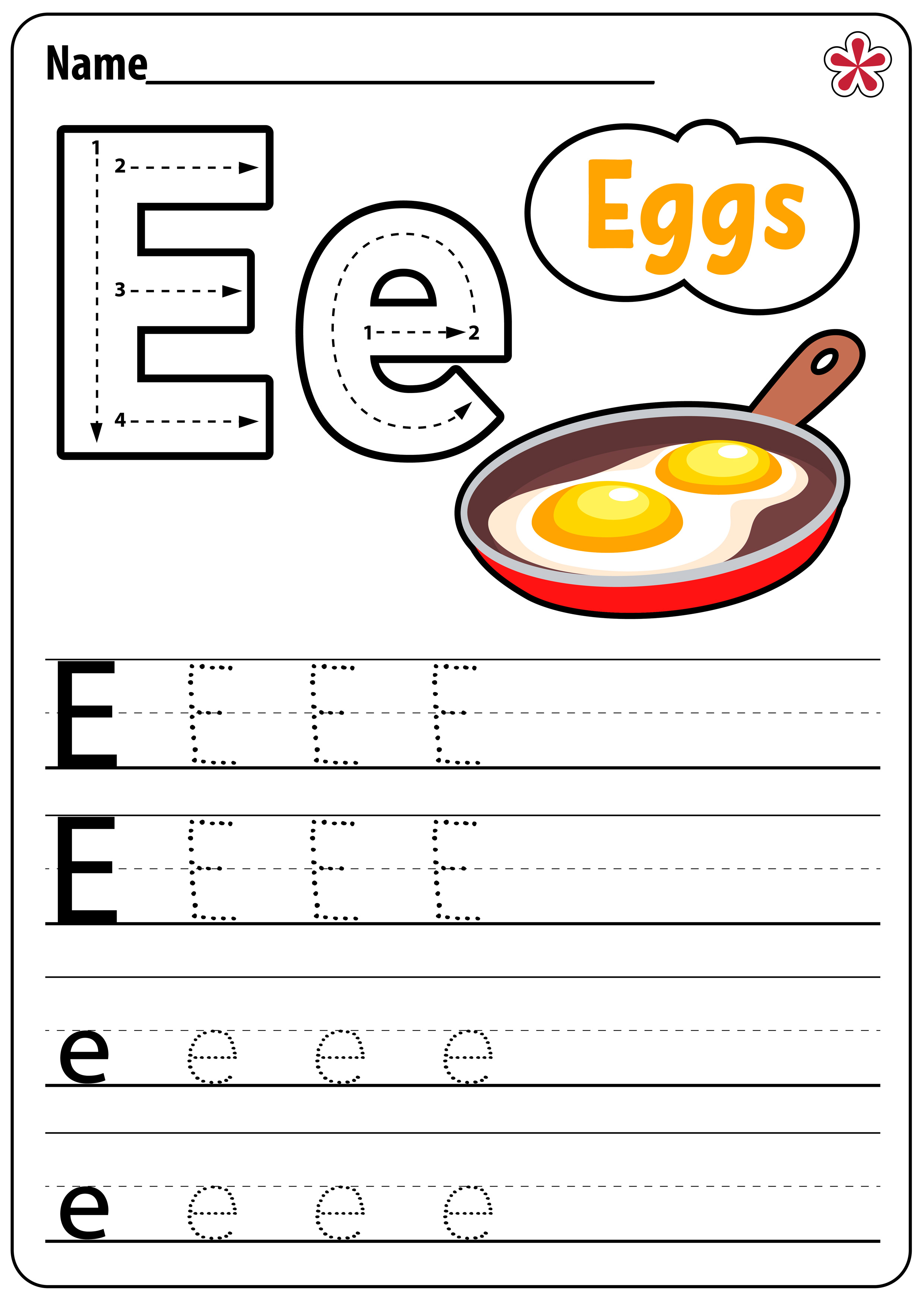 Letter E Worksheets For Kindergarten And Preschool