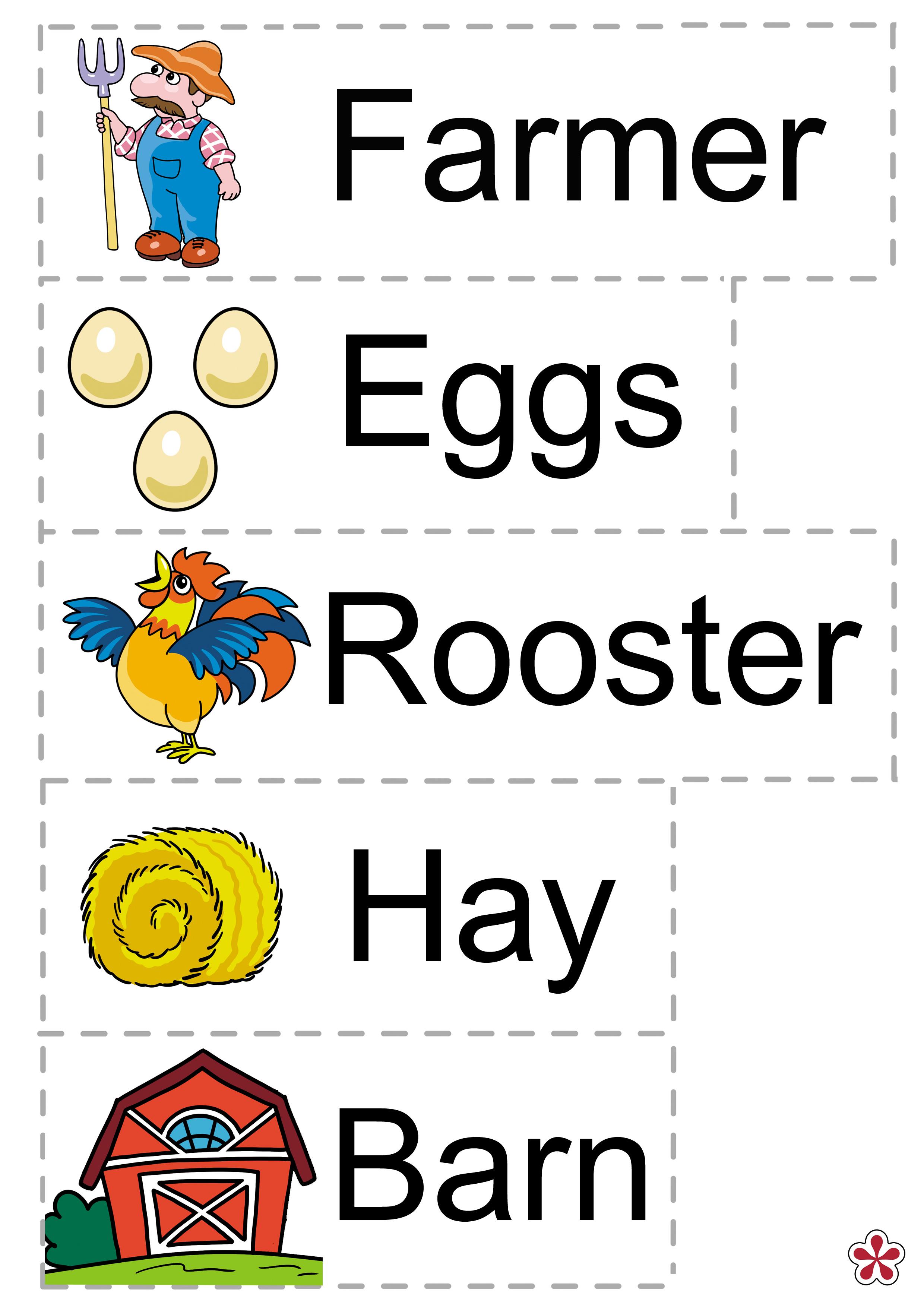Farm Animals Theme For Preschool Vocabulary Words
