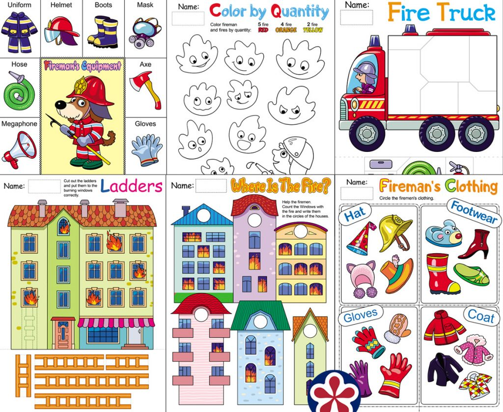 Fireman Worksheets For Preschool