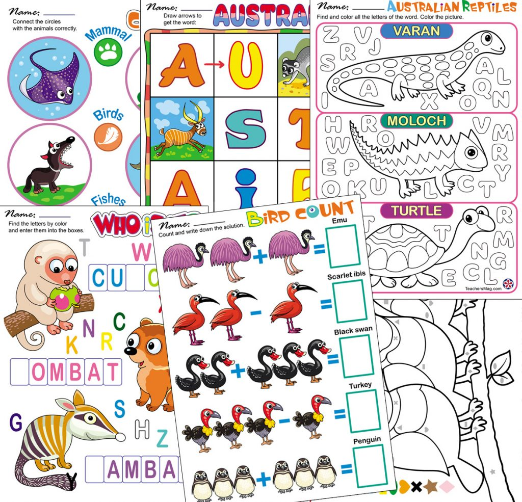 Animals Of Australia Worksheets Teachersmag