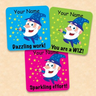 Personalised 25mm square wizard stickers for Teacher Stickers.