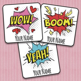 25mm Square Personalised Comic Speech Bubble stickers