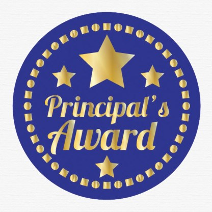 Principal's award 45mm gold foil stickers preview from Teacher Stickers