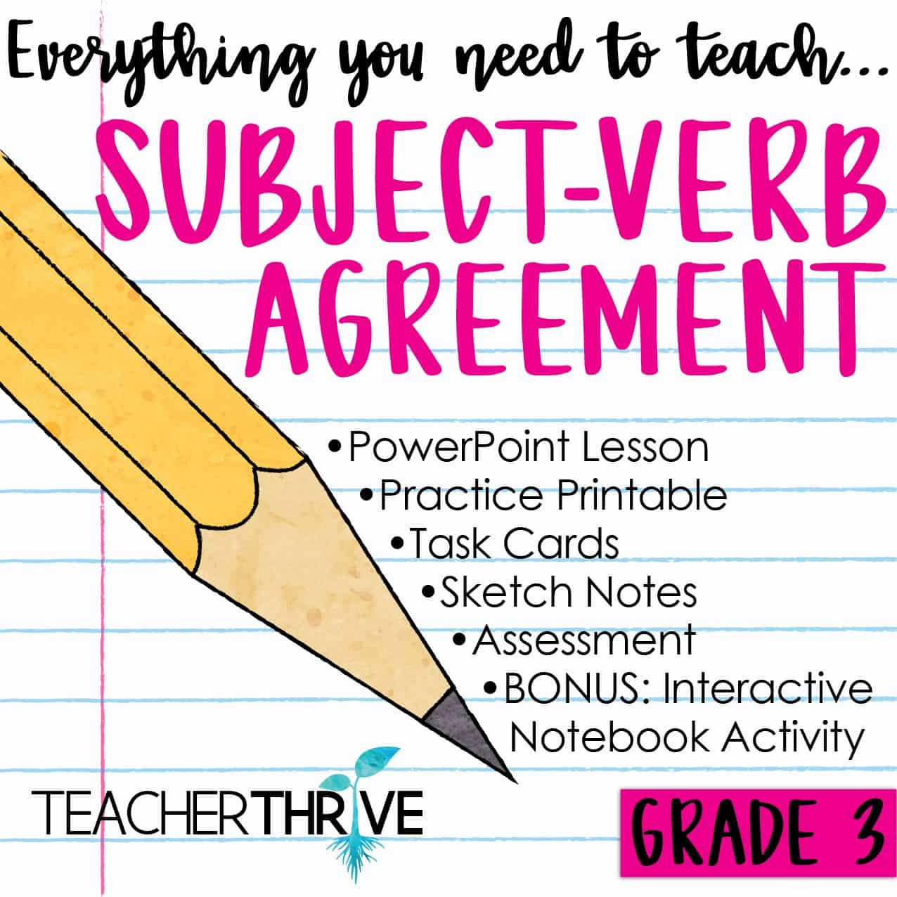 Third Grade Grammar Subject Verb Agreement Teacher Thrive