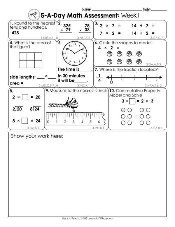 third grade math assessments