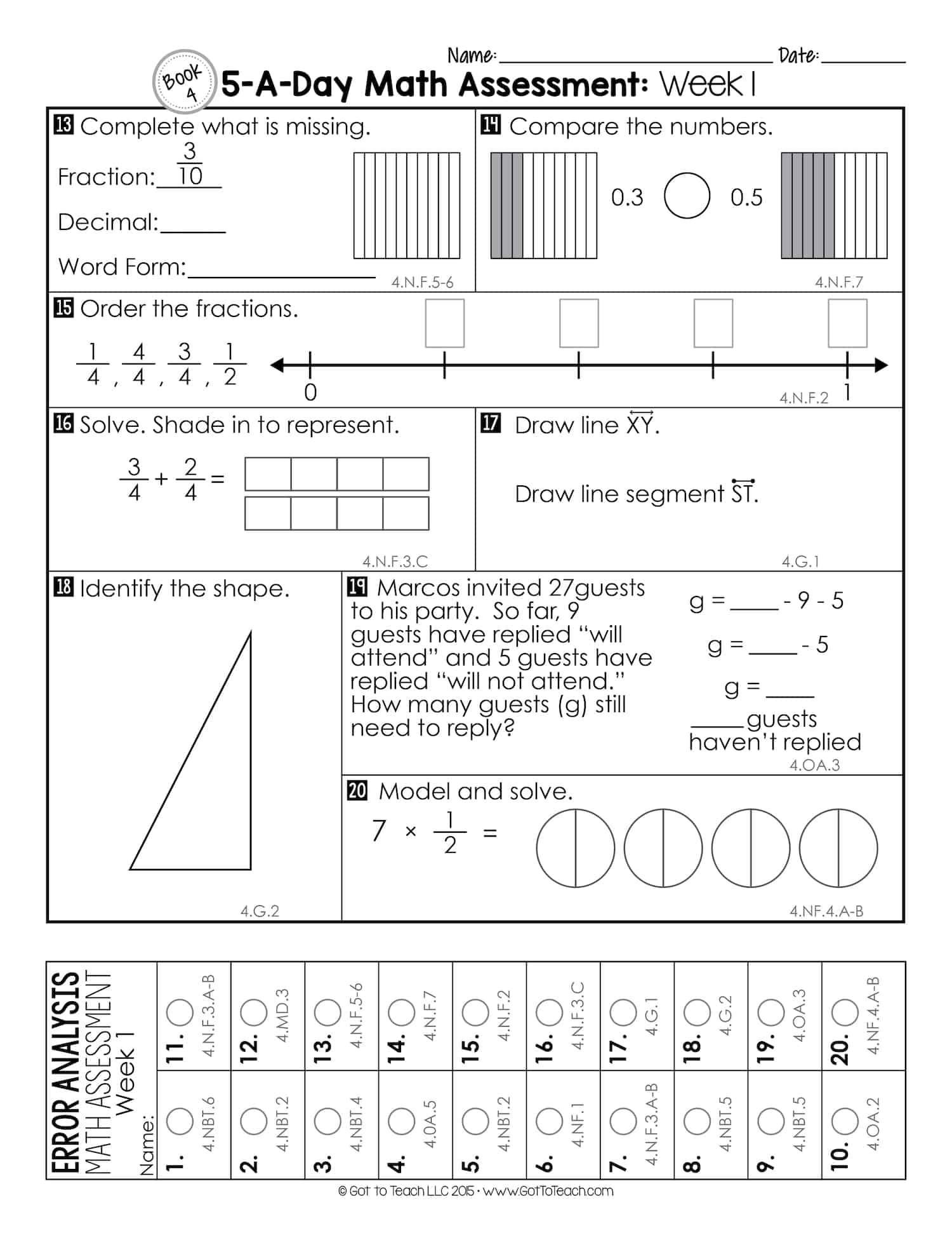 4th grade weekly math assessments teacher thrive. Black Bedroom Furniture Sets. Home Design Ideas