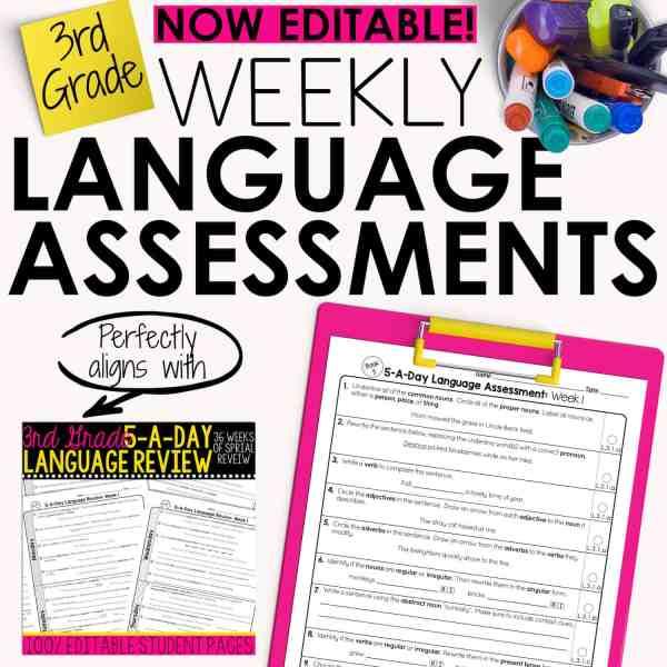 third grade grammar assessments
