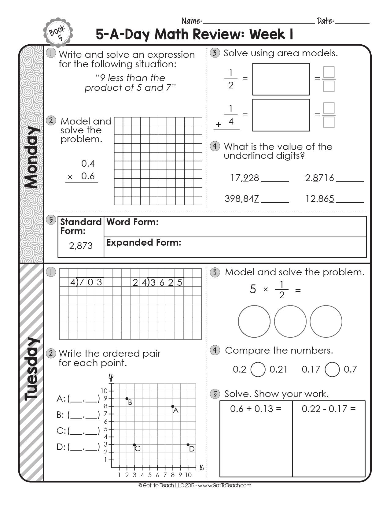 5th Grade Daily Math Spiral Review • Teacher Thrive